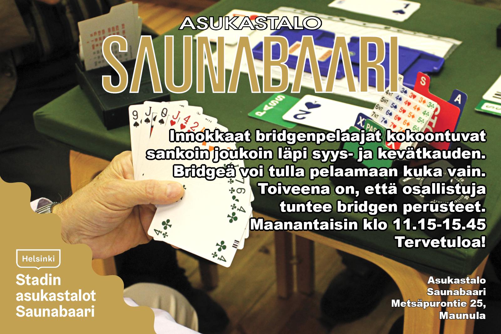Linkki tapahtumaan Asukastalo Saunabaarin Bridge-kerho