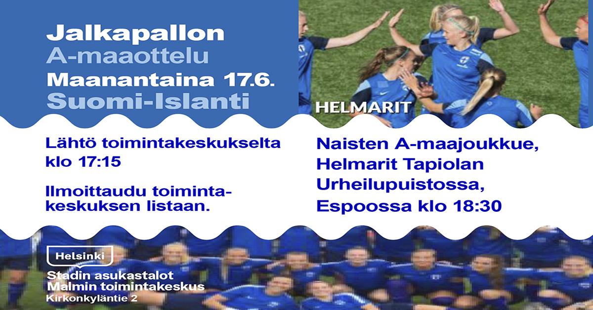Linkki tapahtumaan Jalkapallon A-maaottelu Suomi-Islanti