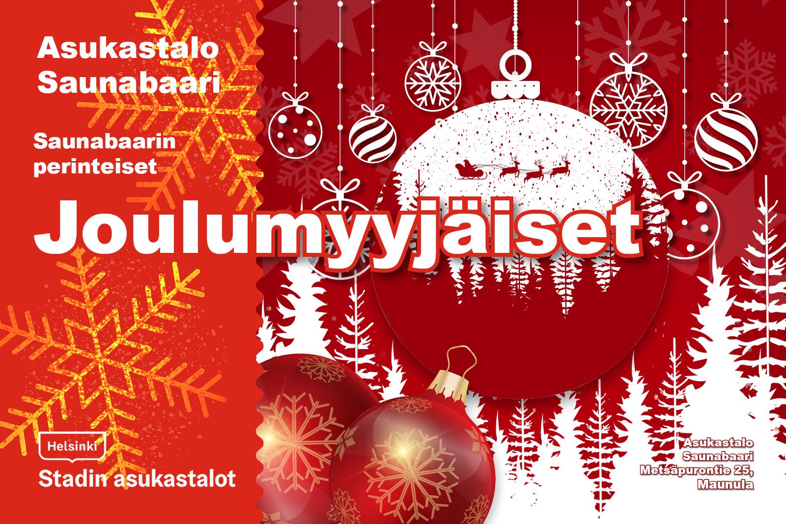 Linkki tapahtumaan Saunabaarin perinteiset Joulumyyjäiset