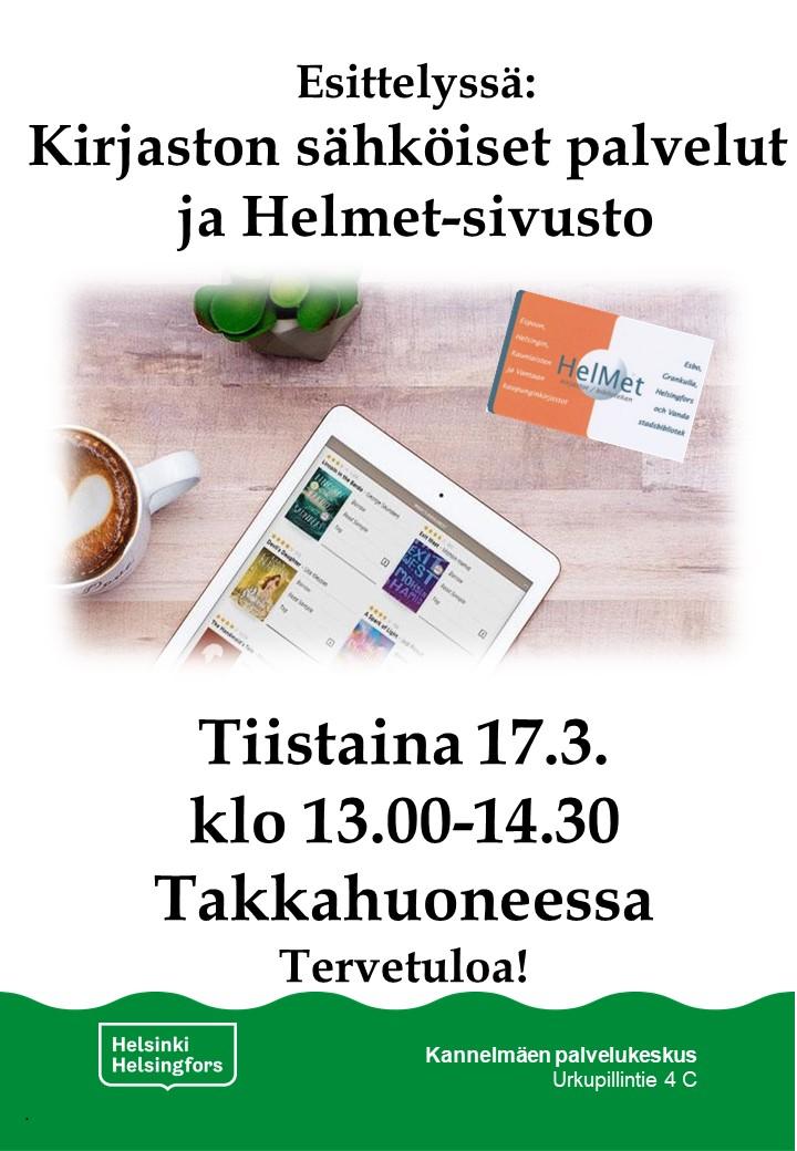 Linkki tapahtumaan Kannelmäen kirjaston e-aineiston ja Helmet-sivuston esittely