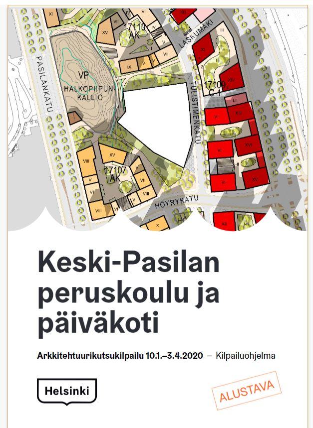 Linkki tapahtumaan Keski-Pasilan peruskoulun ja päiväkodin arkkitehtuurikilpailun tulosjulkistus
