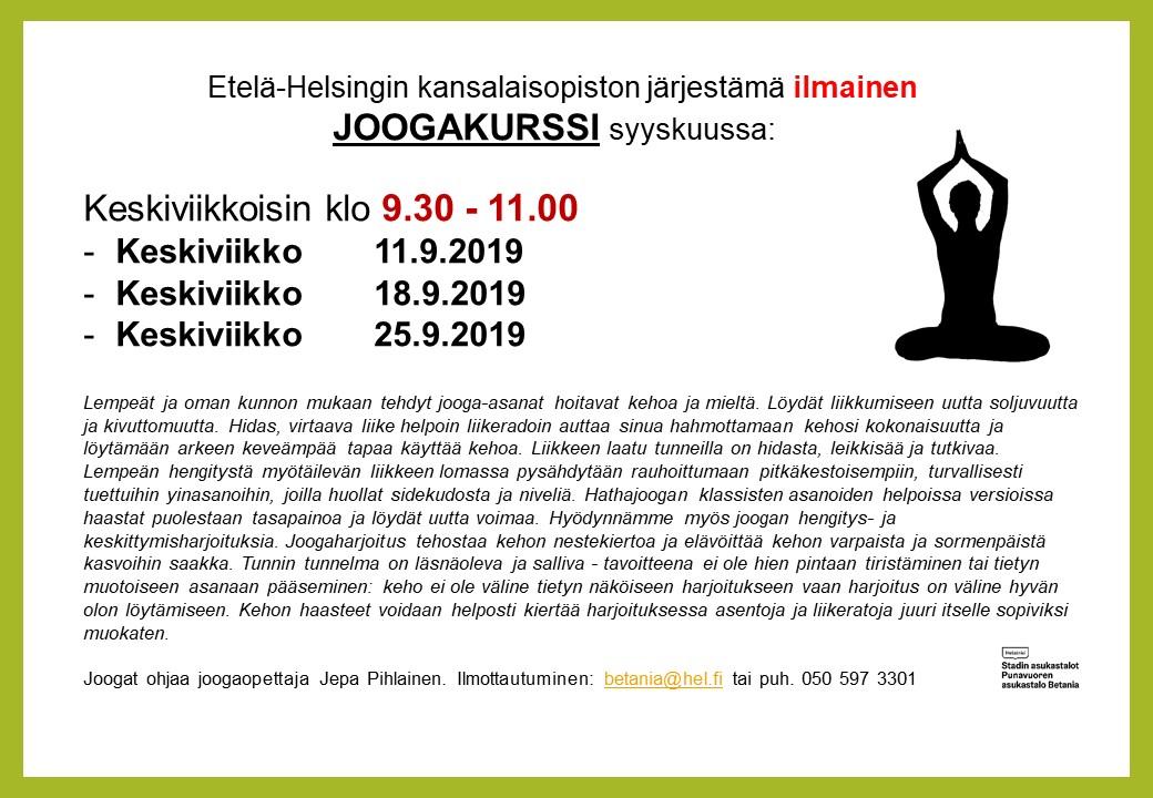 Linkki tapahtumaan Etelä-Helsingin kansalaisopiston ilmainen joogakurssi Betaniassa syyskuussa