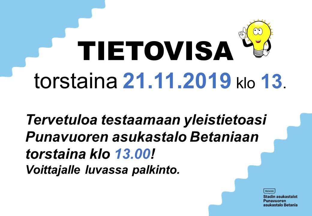 Linkki tapahtumaan Tietovisa Asukastalo Betaniassa  to 21.11.2019 klo 13.