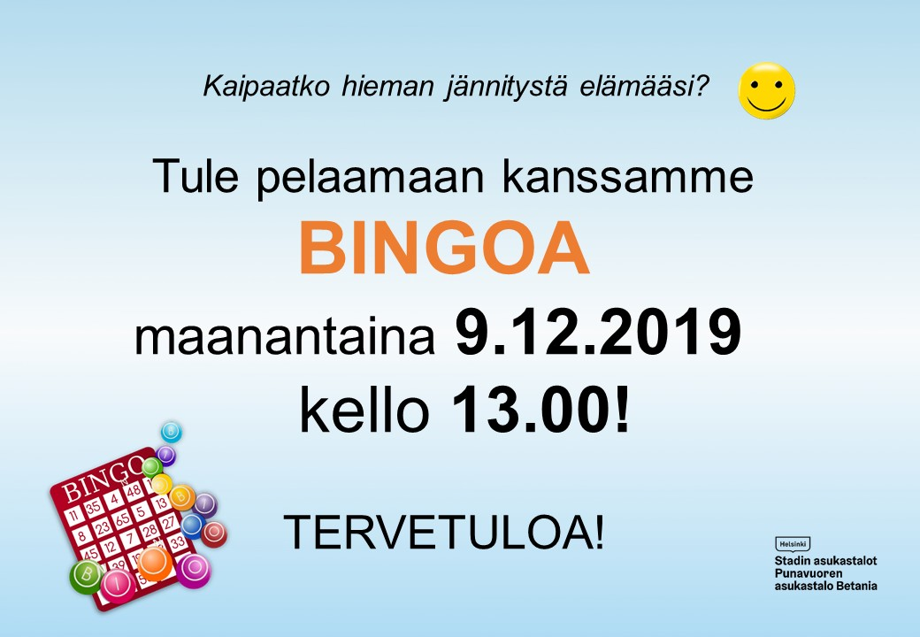 Linkki tapahtumaan Bingoa maanantaina 9.12.2019 klo 13, Asukastalo Betaniassa