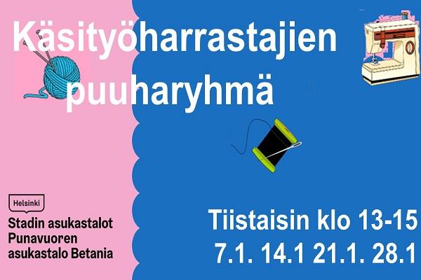 Link to event Käsityöharrastajien puuharyhmä tiistaisin 7.1. 14.1. 21.1. ja 28.1 klo 13-15