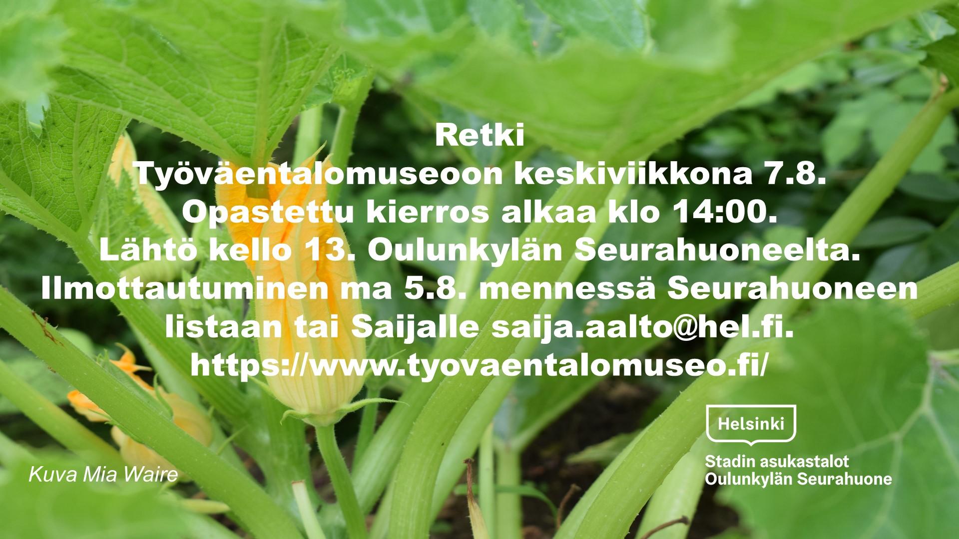 Linkki tapahtumaan  Retki Työväentalomuseoon keskiviikkona 7.8.