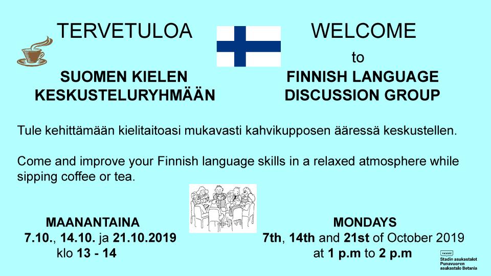 Linkki tapahtumaan Suomen kielen keskusteluryhmä / Finnish language discussion group