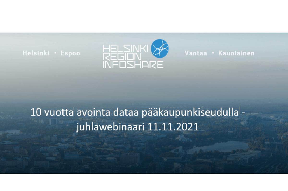 Linkki tapahtumaan 10 vuotta avointa dataa pääkaupunkiseudulla -juhlawebinaari