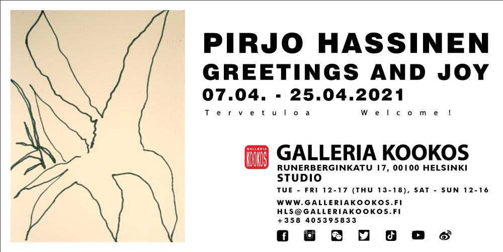 Linkki tapahtumaan Galleria Kookos studio: Pirjo Hassinen - Greetings and Joy
