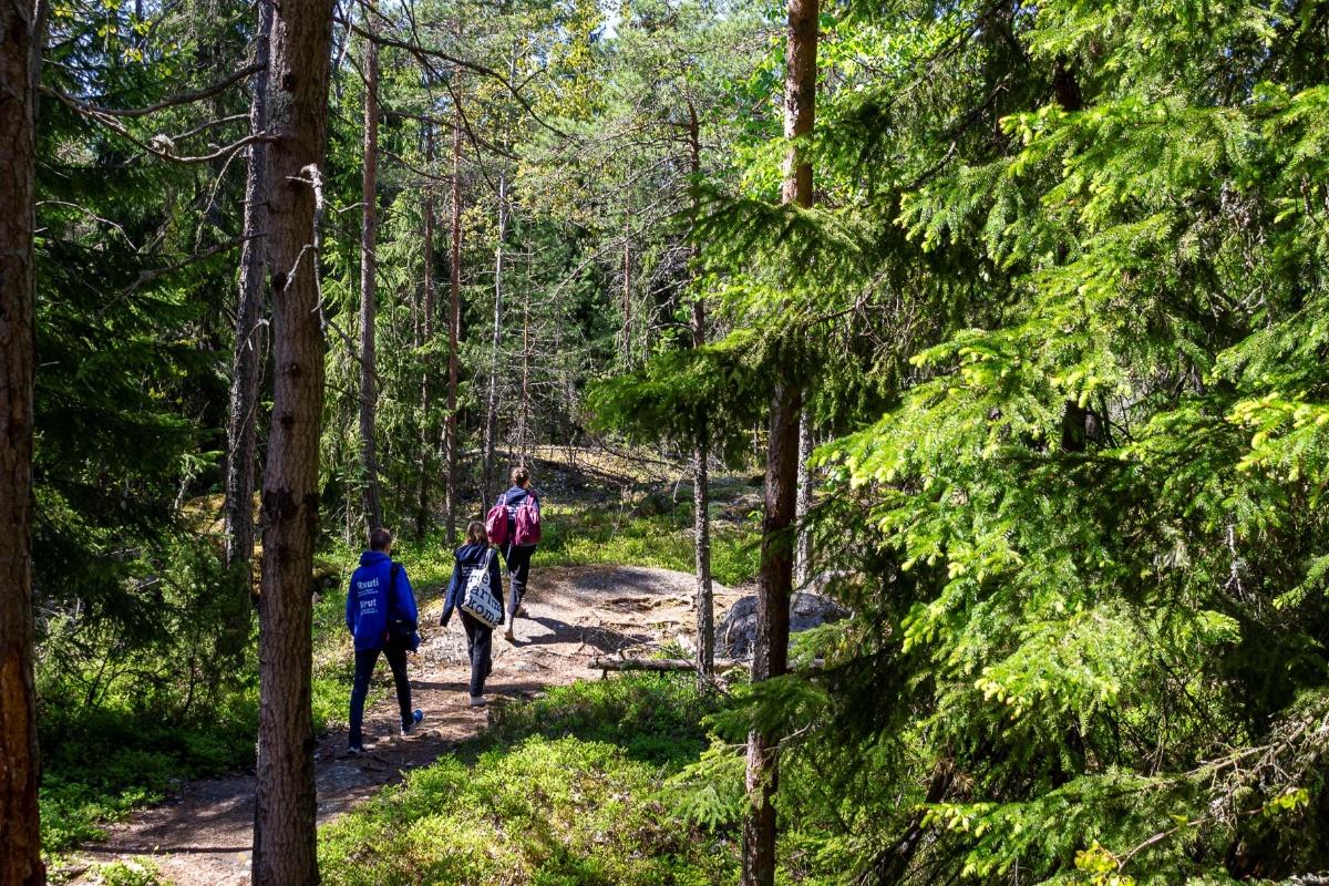 metsäpolulla kävelee peräkkäin kolme nuorta