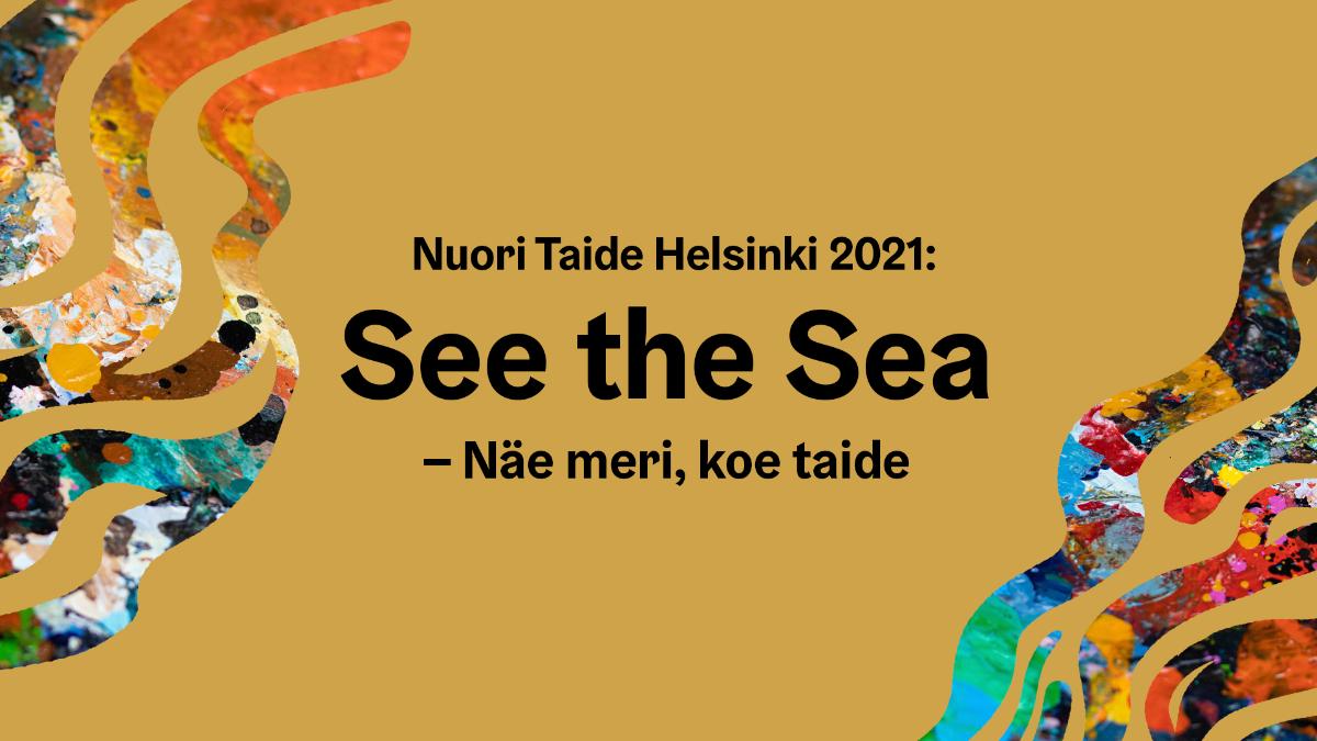 Kuvan oikeassa reunassa on kuin merilevää kuvaamassa meren aaltojen liikettä ja kaistaleet on väritetty eri väreillä ja kuvioilla. Tausta kuvassa kullanvärinen.