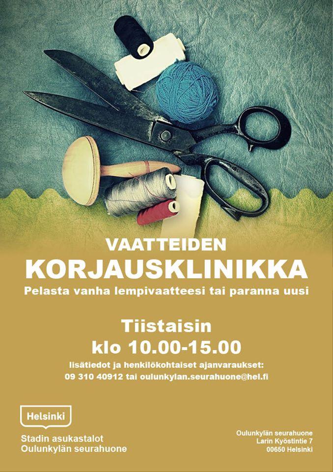 Linkki tapahtumaan Asukastalo Oulunkylän Seurahuoneen vaatteiden korjausklinikka.