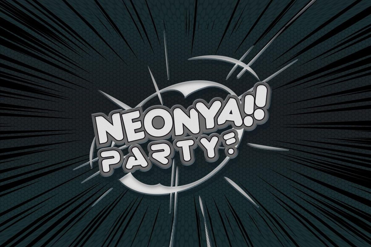 Neonya party mustavalkoisena